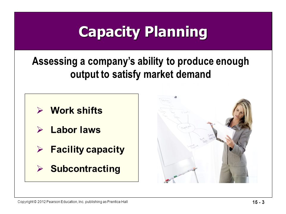 15 - 3 Copyright © 2012 Pearson Education, Inc. publishing as Prentice Hall Capacity Planning Assessing a company's ability to produce enough output t