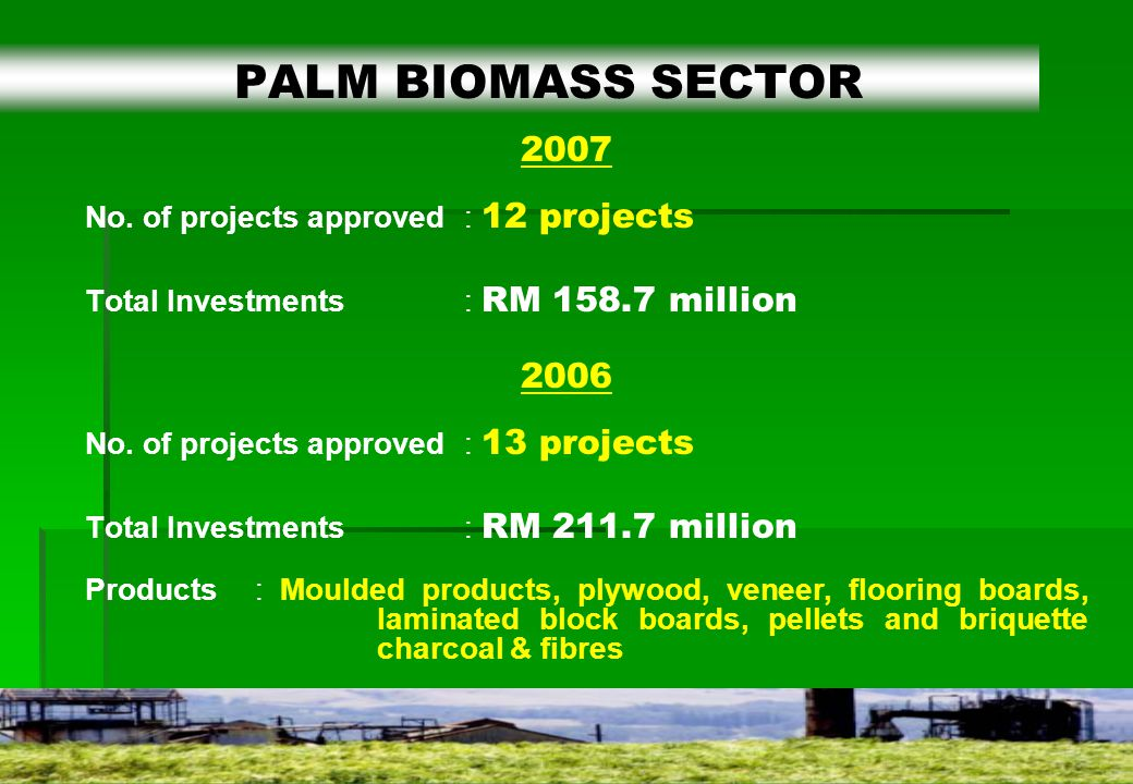 18 2007 No. of projects approved: 12 projects Total Investments: RM 158.7 million 2006 No.