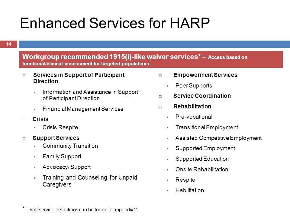 Enhanced Services for HARP  Services in Support of Participant Direction  Information and Assistance in Support of Participant Direction  Financial