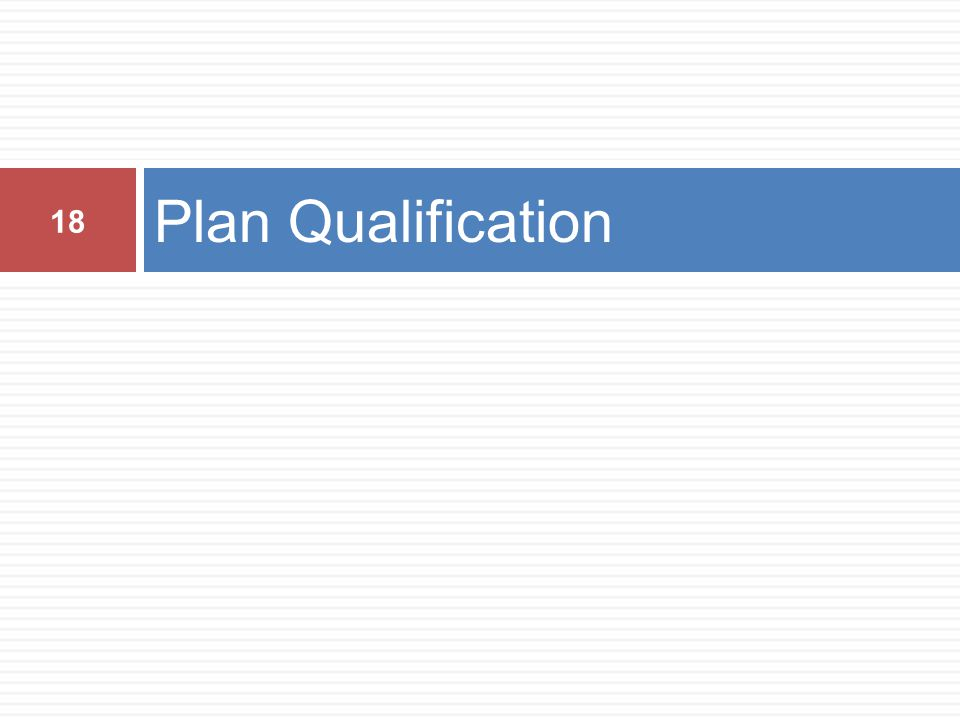 Plan Qualification 18