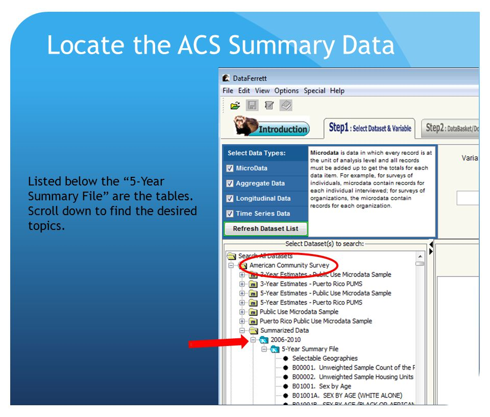 "Locate the ACS Summary Data Listed below the ""5-Year Summary File"" are the tables. Scroll down to find the desired topics."