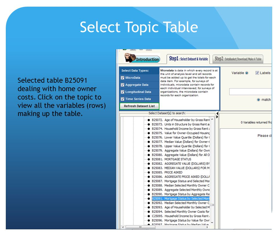 Select Topic Table Selected table B25091 dealing with home owner costs. Click on the topic to view all the variables (rows) making up the table.