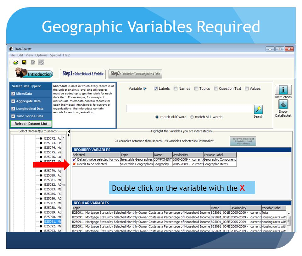 Geographic Variables Required Double click on the variable with the X
