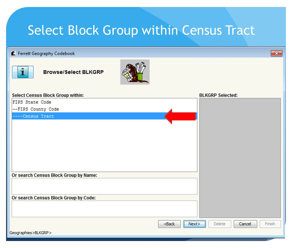 Select Block Group within Census Tract