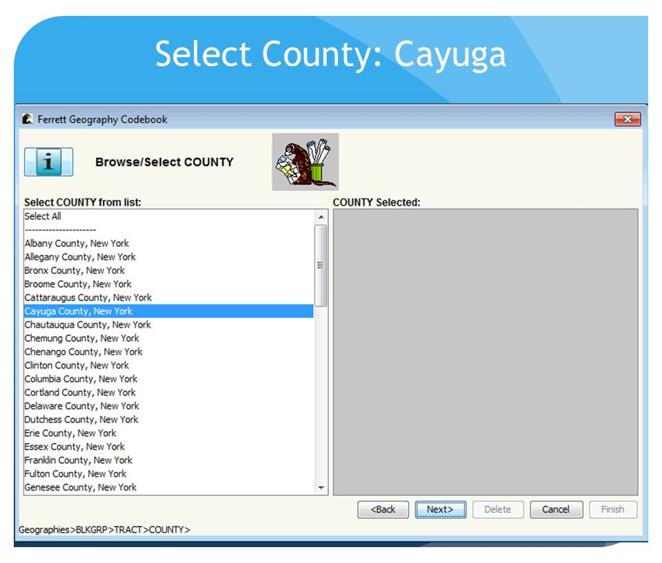 Select County: Cayuga