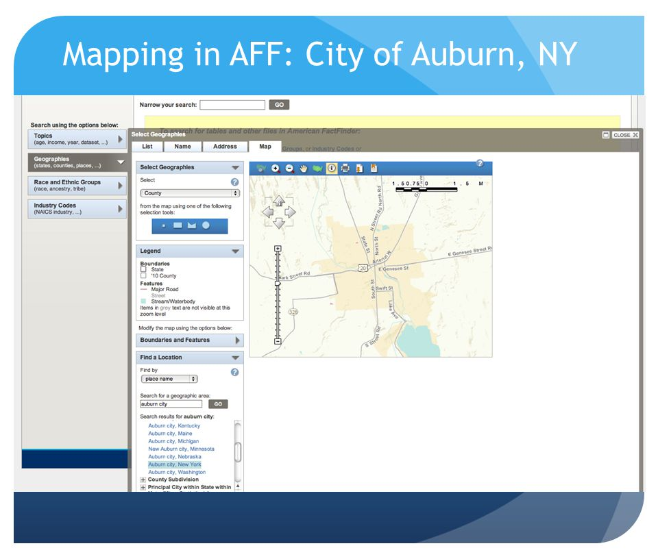 Mapping in AFF: City of Auburn, NY