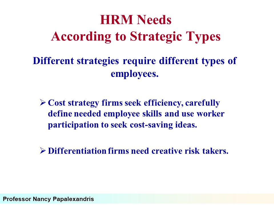 Professor Nancy Papalexandris HRM Needs According to Strategic Types Different strategies require different types of employees.  Cost strategy firms