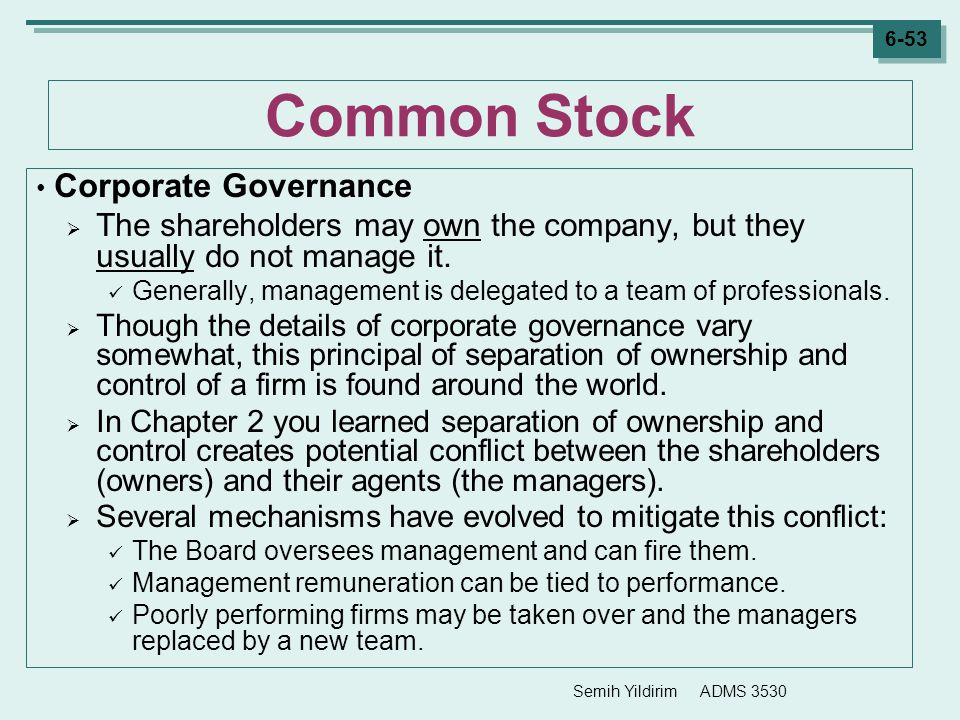 Semih Yildirim ADMS 3530 6-53 Common Stock Corporate Governance  The shareholders may own the company, but they usually do not manage it. Generally,