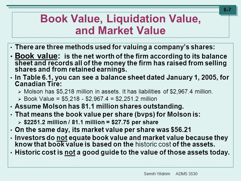 Semih Yildirim ADMS 3530 6-7 Book Value, Liquidation Value, and Market Value There are three methods used for valuing a company's shares: Book value: