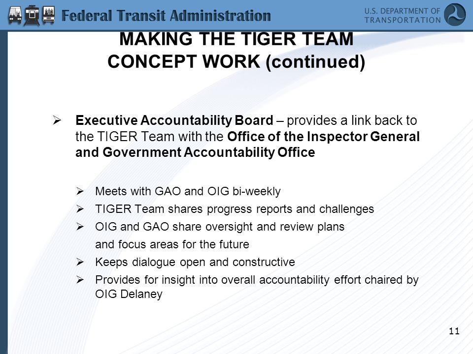 11 MAKING THE TIGER TEAM CONCEPT WORK (continued)  Executive Accountability Board – provides a link back to the TIGER Team with the Office of the Inspector General and Government Accountability Office  Meets with GAO and OIG bi-weekly  TIGER Team shares progress reports and challenges  OIG and GAO share oversight and review plans and focus areas for the future  Keeps dialogue open and constructive  Provides for insight into overall accountability effort chaired by OIG Delaney