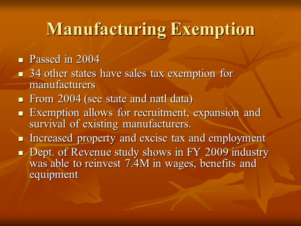 Manufacturing Exemption Passed in 2004 Passed in 2004 34 other states have sales tax exemption for manufacturers 34 other states have sales tax exempt