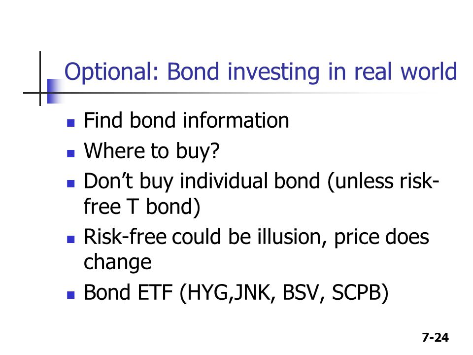 7-24 Optional: Bond investing in real world Find bond information Where to buy.