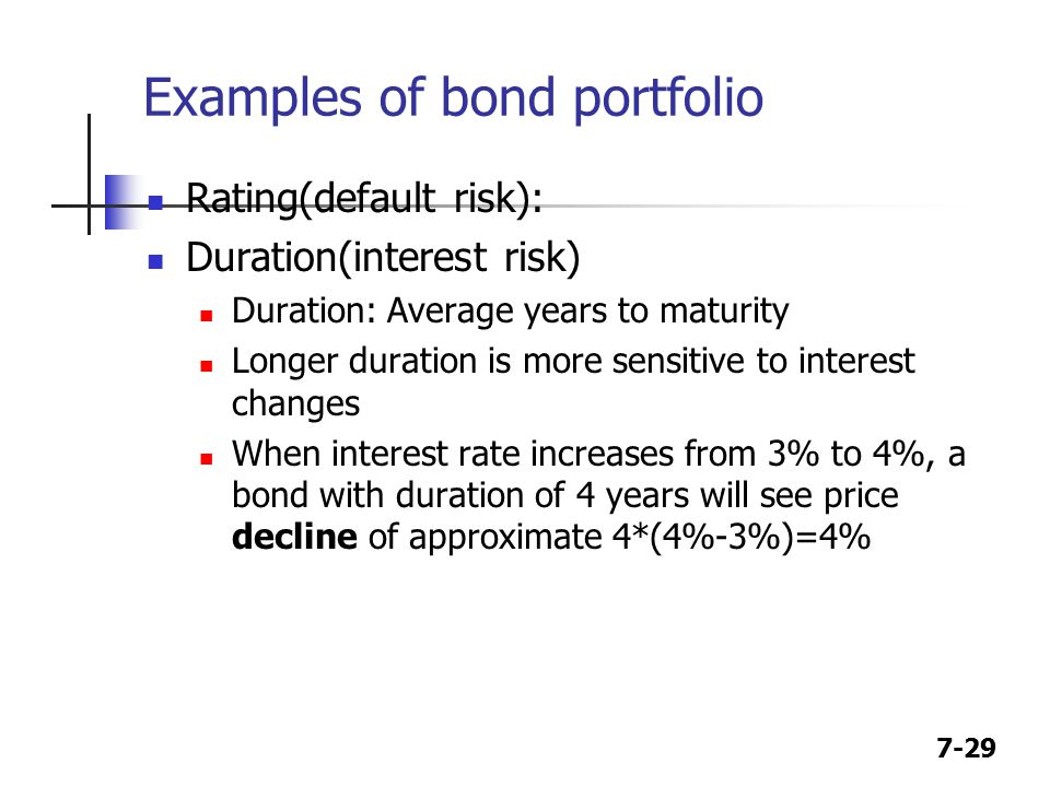 7-29 Examples of bond portfolio Rating(default risk): Duration(interest risk) Duration: Average years to maturity Longer duration is more sensitive to interest changes When interest rate increases from 3% to 4%, a bond with duration of 4 years will see price decline of approximate 4*(4%-3%)=4%