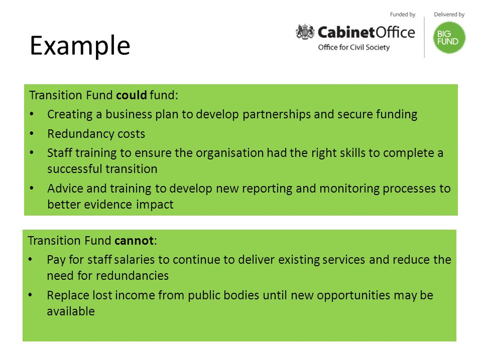 Example Transition Fund could fund: Creating a business plan to develop partnerships and secure funding Redundancy costs Staff training to ensure the organisation had the right skills to complete a successful transition Advice and training to develop new reporting and monitoring processes to better evidence impact Transition Fund cannot: Pay for staff salaries to continue to deliver existing services and reduce the need for redundancies Replace lost income from public bodies until new opportunities may be available