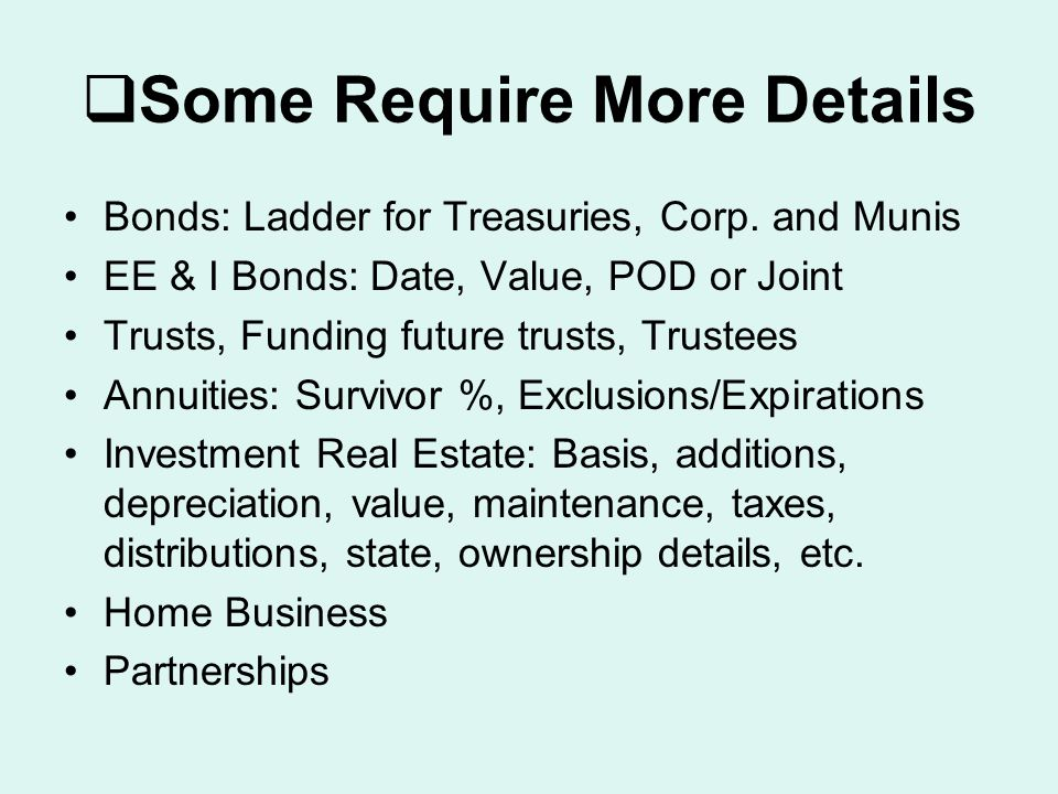  Some Require More Details Bonds: Ladder for Treasuries, Corp.
