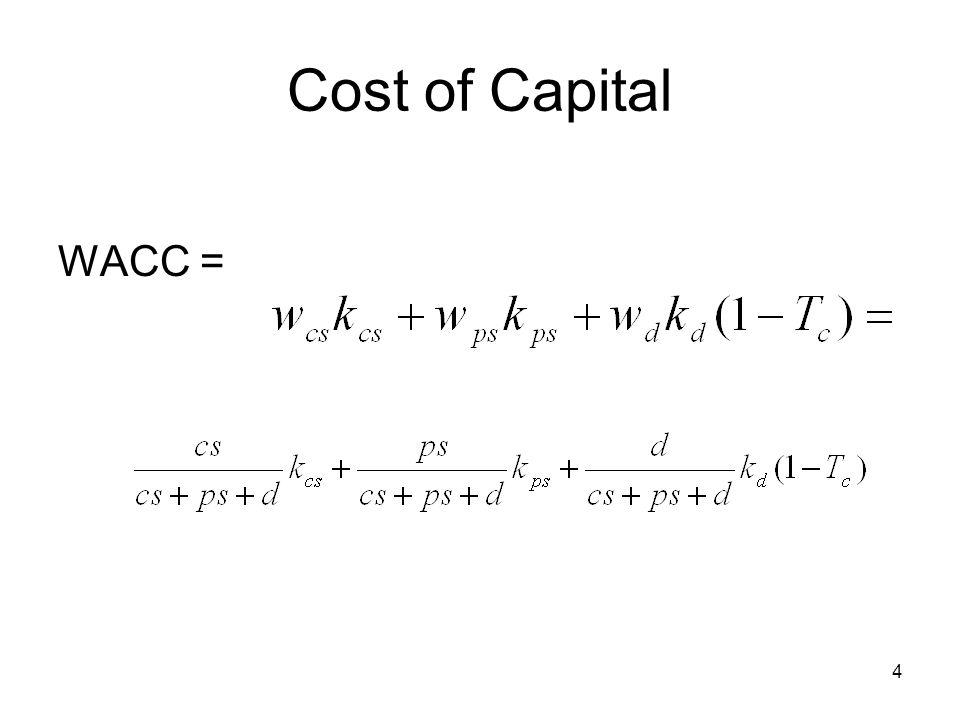 5 Cost of Capital k d (1-T c ) –Where do we get k d from?
