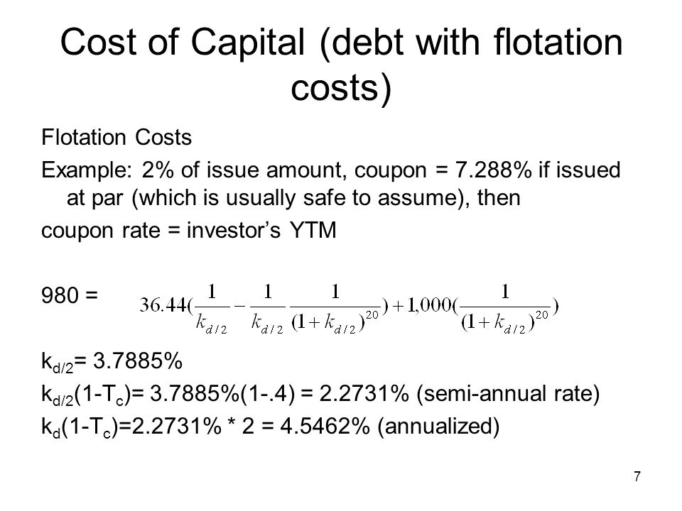 8 Cost of Capital (Preferred Shares) Already in after-tax form Flotation Costs (F): k ps = Div ps /{P(1-F)} Example: P= 100, Div ps = 10, F= 5% k ps = 10/{100(1-.05)}= 10.526%