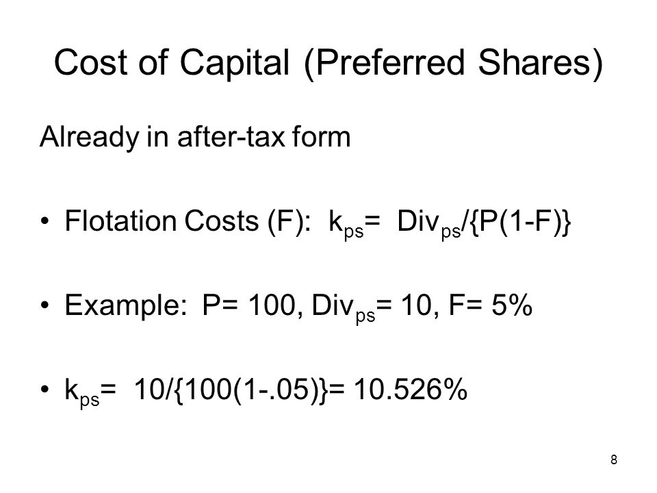 9 Cost of Capital (Common) Discounted Cash Flow (DCF) Simple g assumption.