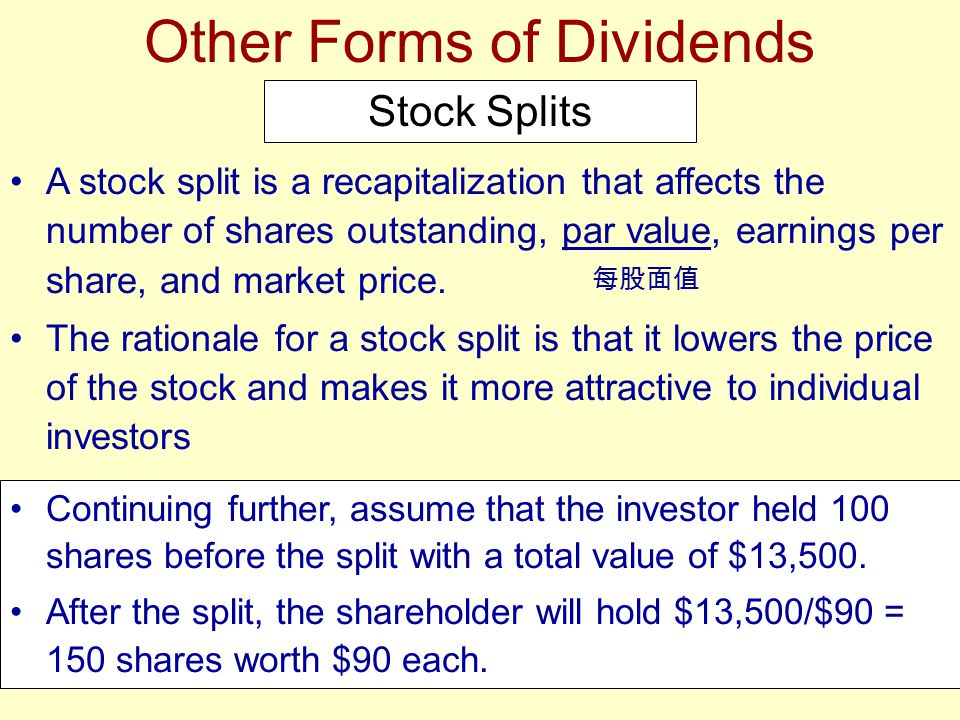 Continuing further, assume that the investor held 100 shares before the split with a total value of $13,500. After the split, the shareholder will hol