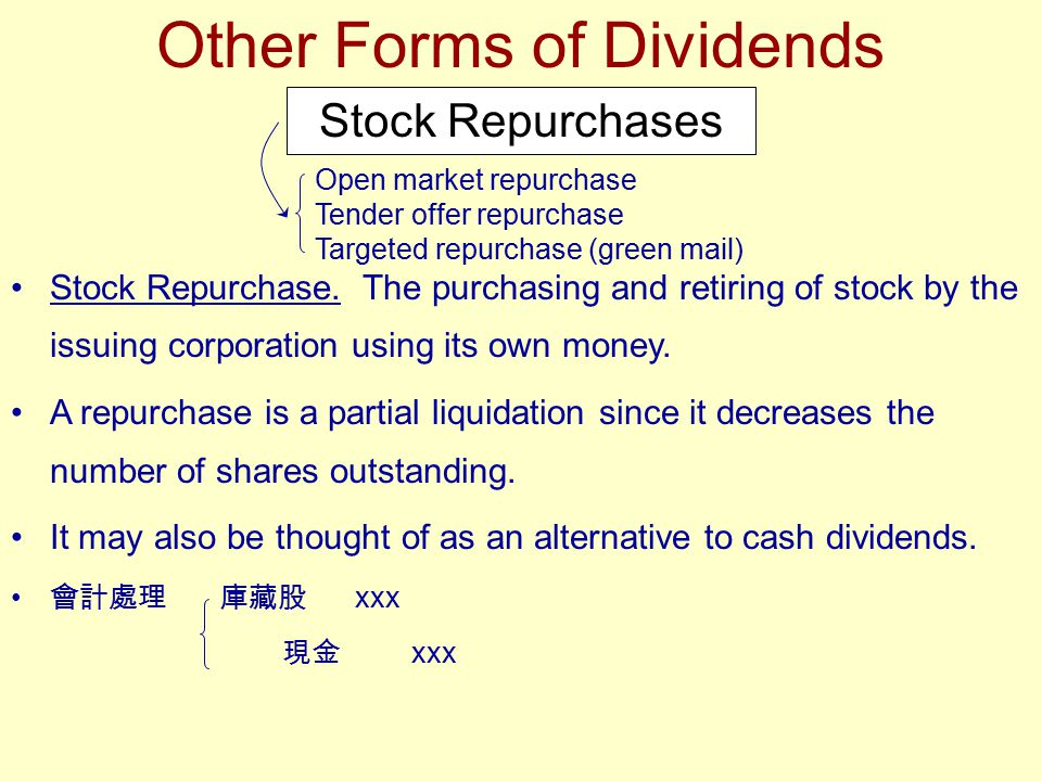 Other Forms of Dividends Stock Repurchases Stock Repurchase. The purchasing and retiring of stock by the issuing corporation using its own money. A re