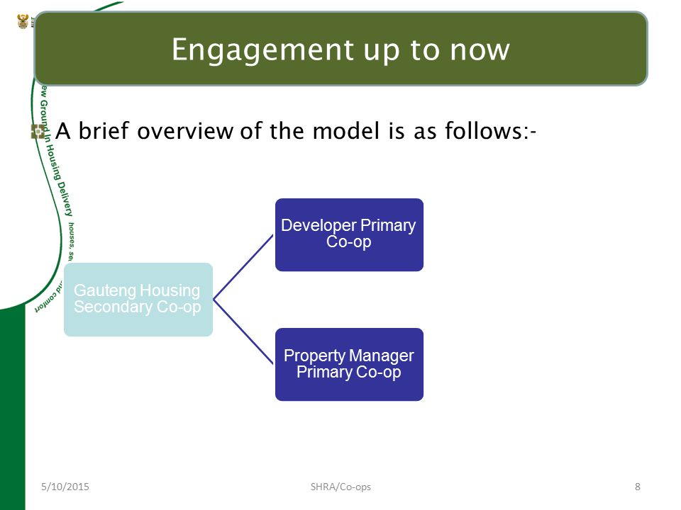 5/10/2015SHRA/Co-ops8 Engagement up to now A brief overview of the model is as follows:- Gauteng Housing Secondary Co-op Developer Primary Co-op Devel