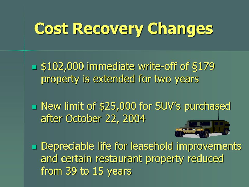 Cost Recovery Changes $102,000 immediate write-off of §179 property is extended for two years $102,000 immediate write-off of §179 property is extende