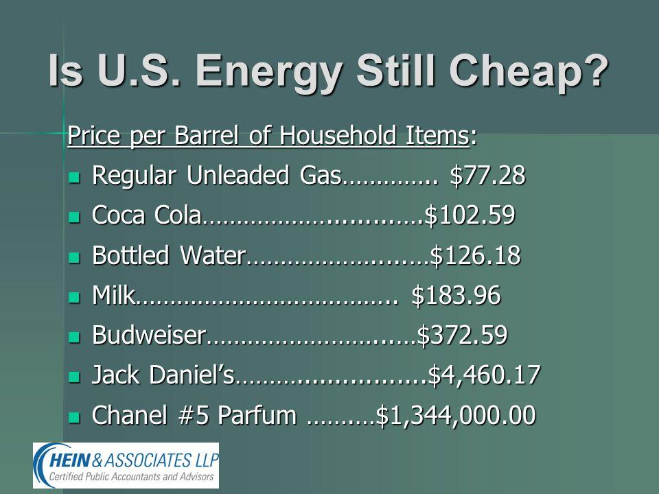 Is U.S. Energy Still Cheap? Price per Barrel of Household Items: Regular Unleaded Gas………….. $77.28 Regular Unleaded Gas………….. $77.28 Coca Cola………………..