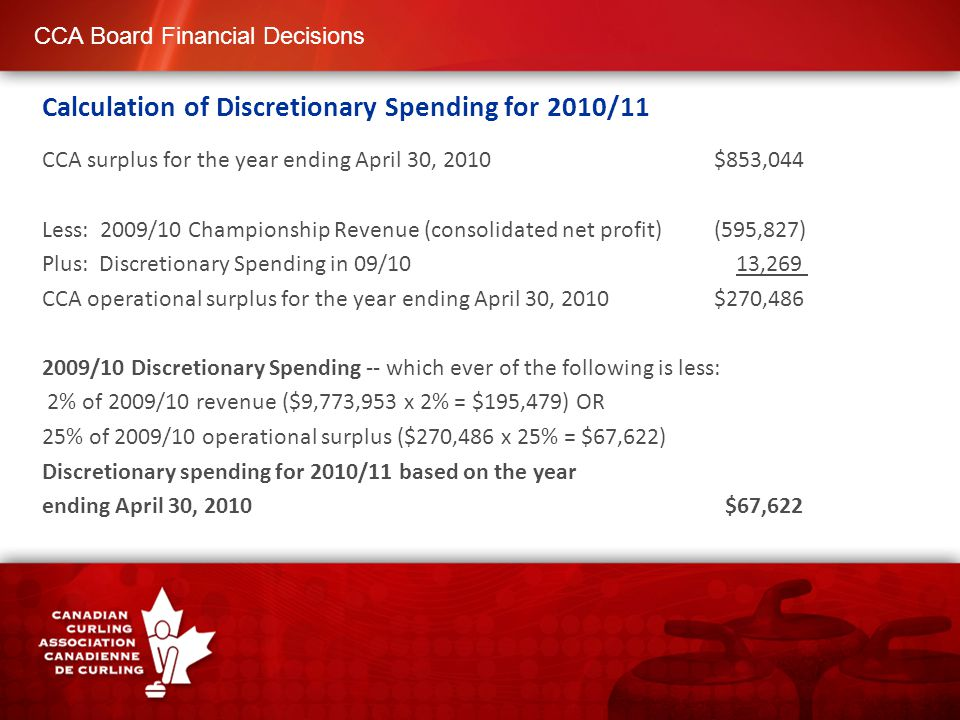 CCA Board Financial Decisions Calculation of Discretionary Spending for 2011/12 CCA surplus for the year ending April 30, 2011 $640,727 Plus: 2010/11 Championship Revenue (consolidated net loss) $131,831 Plus: CAP expenditures paid or payable as at April 30/11 $ 36,146 Plus: Discretionary Spending in 10/11 $ 67,622 CCA operational surplus for the year ending April 30, 2011 $876,326 2010/11 Discretionary Spending -- which ever of the following is less: 2% of 2010/11 revenue ($9,990,130 x 2% = $199,803) OR 25% of 2010/11 operational surplus ($876,326 x 25% = $219,082) Discretionary spending for 2011/12 based on the year ending April 30, 2011 $199,803