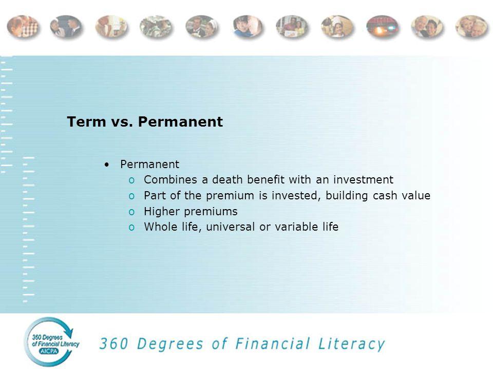 Term vs. Permanent Term oLargest death benefit for the dollar oAnnual renewable and level premium oReturn-of-premium