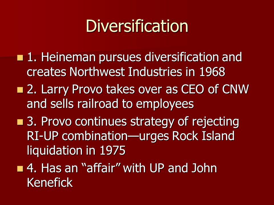 Diversification 1. Heineman pursues diversification and creates Northwest Industries in 1968 1. Heineman pursues diversification and creates Northwest