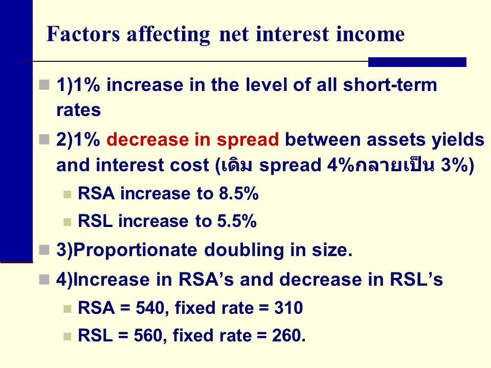 Factors affecting net interest income 1)1% increase in the level of all short-term rates 2)1% decrease in spread between assets yields and interest cost ( เดิม spread 4% กลายเป็น 3%) RSA increase to 8.5% RSL increase to 5.5% 3)Proportionate doubling in size.