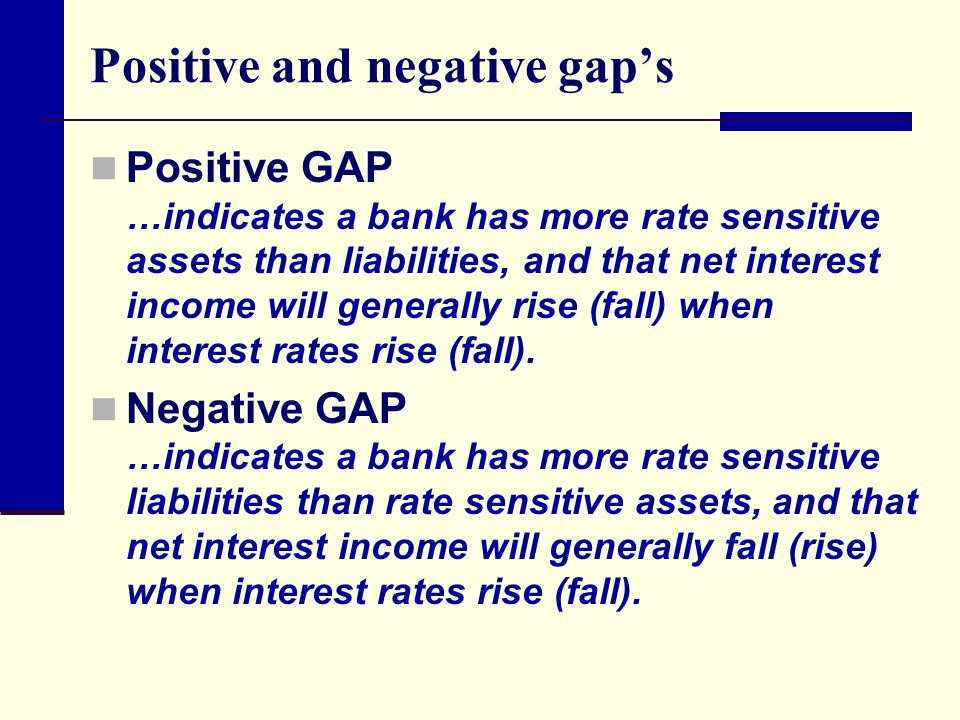 Positive and negative gap's Positive GAP …indicates a bank has more rate sensitive assets than liabilities, and that net interest income will generally rise (fall) when interest rates rise (fall).