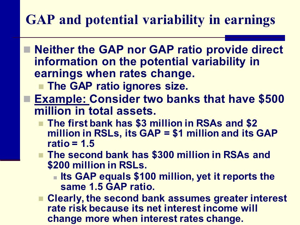 GAP and potential variability in earnings Neither the GAP nor GAP ratio provide direct information on the potential variability in earnings when rates change.