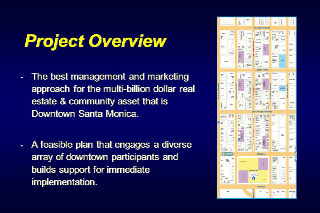 Project Overview The best management and marketing approach for the multi-billion dollar real estate & community asset that is Downtown Santa Monica.