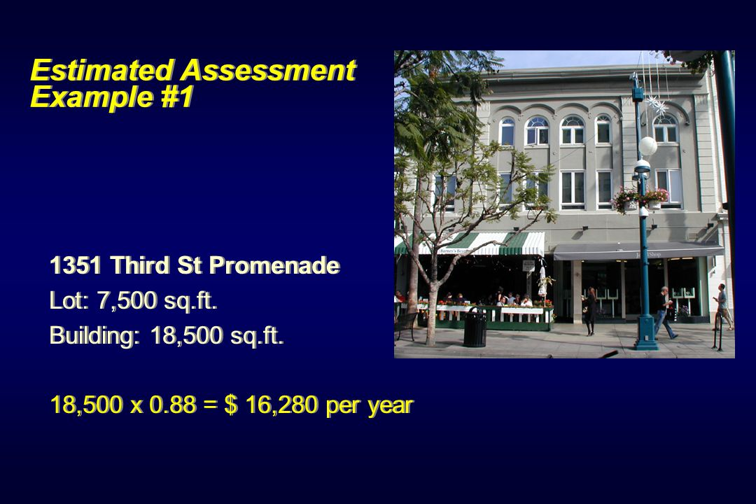 Estimated Assessment Example #1 1351 Third St Promenade Lot: 7,500 sq.ft.