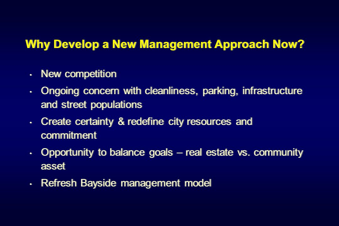 Property-Based Assessment District Progress through the Fall of 2007 Working Group formed to develop plan – August 2007 National contractor evaluates existing maintenance services, provides estimates for supplemental cleaning & new ambassadors City of Santa Monica identifies base level of service, creating new work plan to concentrate on core services Working group reviewing emerging work program, budget and assessment scenarios Open forums to review emerging concepts in November Progress through the Fall of 2007 Working Group formed to develop plan – August 2007 National contractor evaluates existing maintenance services, provides estimates for supplemental cleaning & new ambassadors City of Santa Monica identifies base level of service, creating new work plan to concentrate on core services Working group reviewing emerging work program, budget and assessment scenarios Open forums to review emerging concepts in November