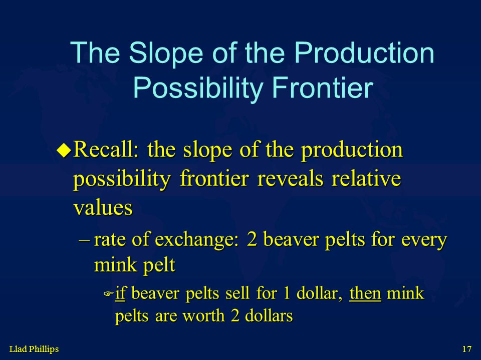 Llad Phillips 17 The Slope of the Production Possibility Frontier  Recall: the slope of the production possibility frontier reveals relative values –rate of exchange: 2 beaver pelts for every mink pelt  if beaver pelts sell for 1 dollar, then mink pelts are worth 2 dollars