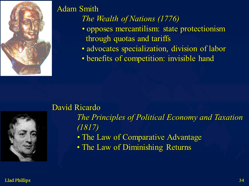 34 Adam Smith The Wealth of Nations (1776) opposes mercantilism: state protectionism opposes mercantilism: state protectionism through quotas and tari