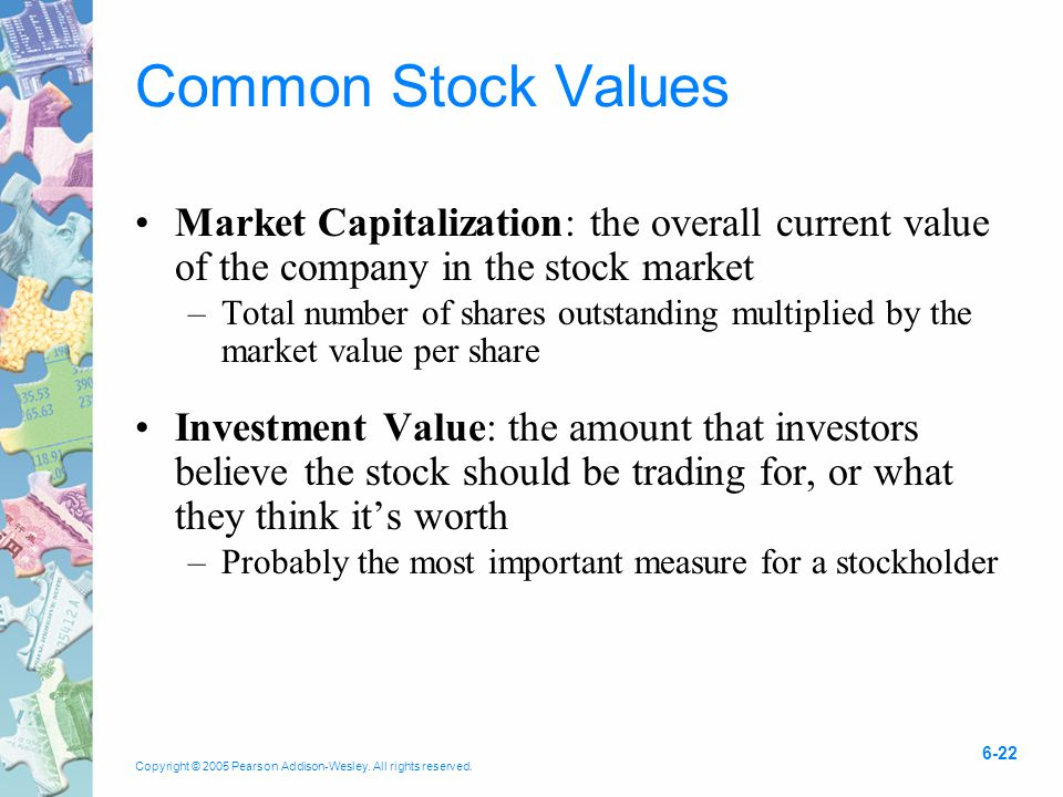 Copyright © 2005 Pearson Addison-Wesley. All rights reserved. 6-22 Common Stock Values Market Capitalization: the overall current value of the company