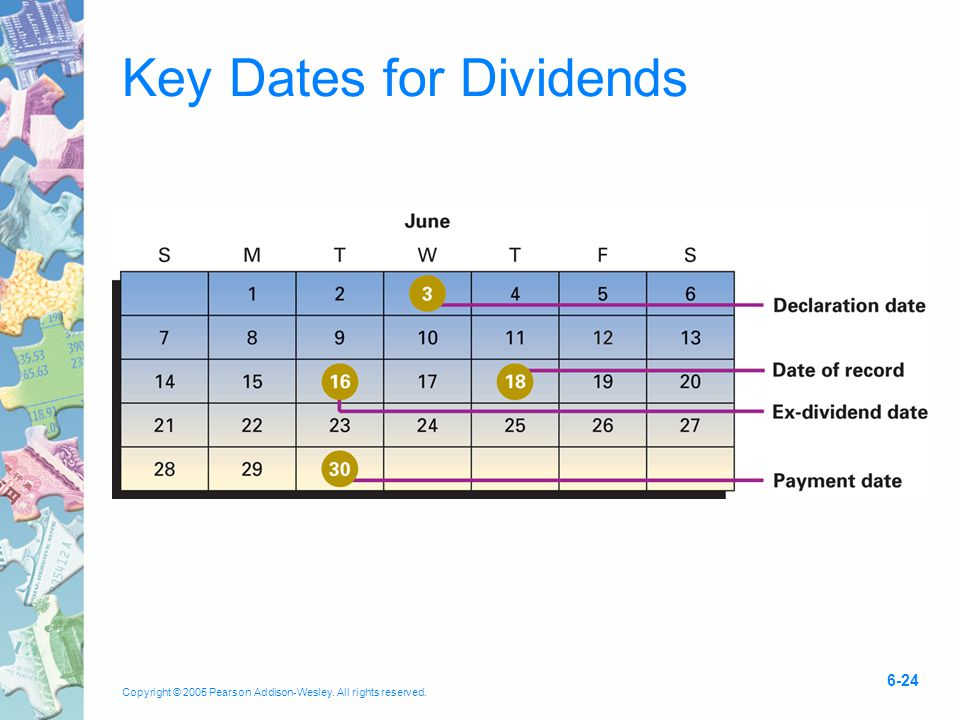 Copyright © 2005 Pearson Addison-Wesley. All rights reserved. 6-24 Key Dates for Dividends
