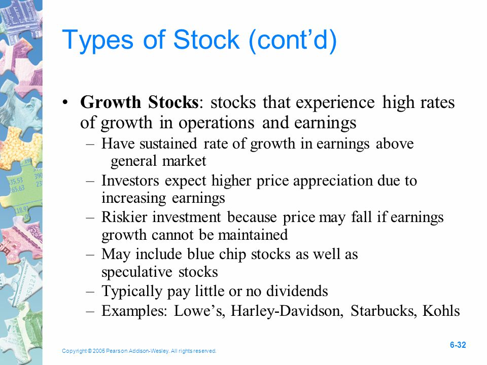 Copyright © 2005 Pearson Addison-Wesley. All rights reserved. 6-32 Types of Stock (cont'd) Growth Stocks: stocks that experience high rates of growth