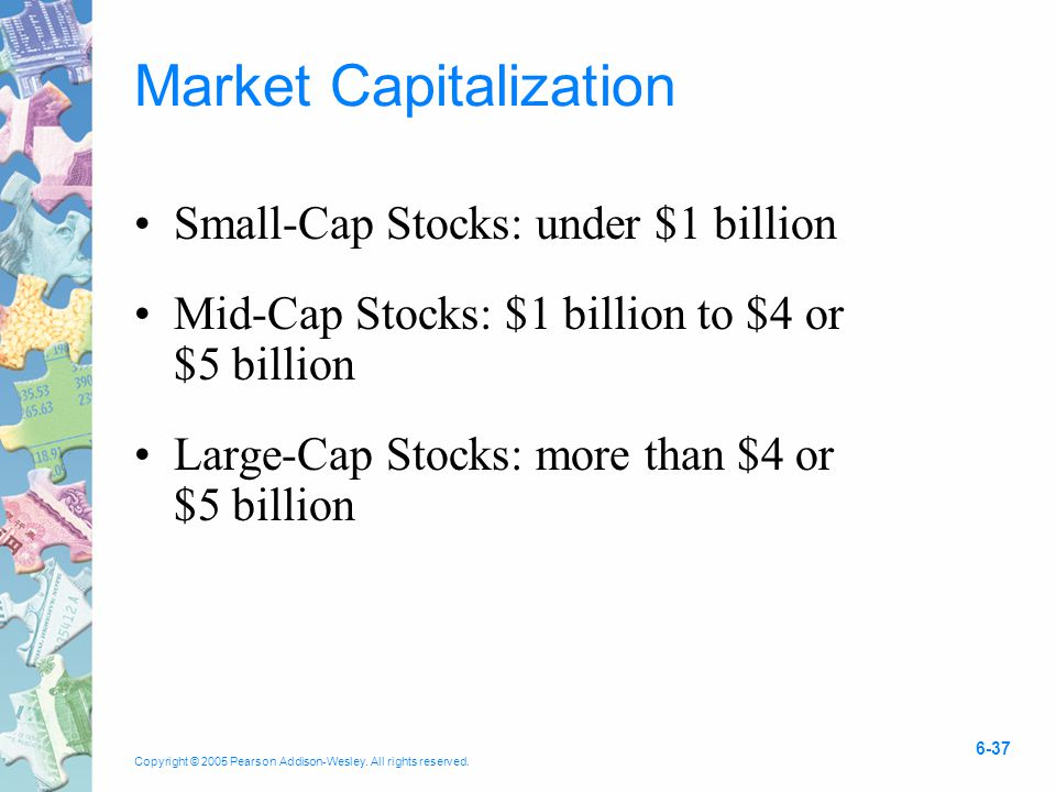 Copyright © 2005 Pearson Addison-Wesley. All rights reserved. 6-37 Market Capitalization Small-Cap Stocks: under $1 billion Mid-Cap Stocks: $1 billion