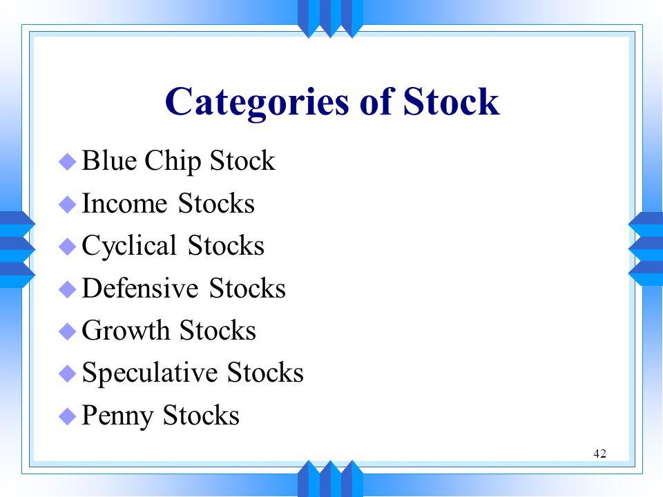 42 Categories of Stock u Blue Chip Stock u Income Stocks u Cyclical Stocks u Defensive Stocks u Growth Stocks u Speculative Stocks u Penny Stocks