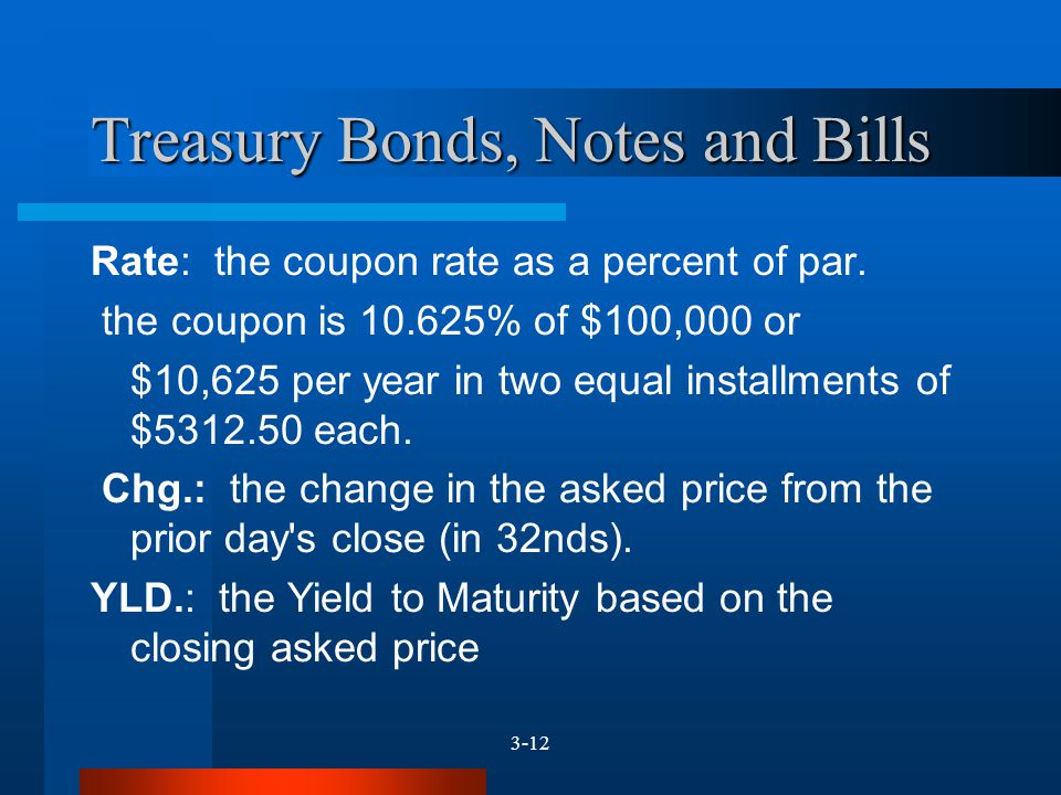 3-12 Treasury Bonds, Notes and Bills Rate: the coupon rate as a percent of par. the coupon is 10.625% of $100,000 or $10,625 per year in two equal ins