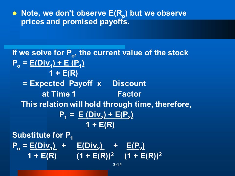 3-15 Note, we don't observe E(R o ) but we observe prices and promised payoffs. If we solve for P o, the current value of the stock P o = E(Div 1 ) +