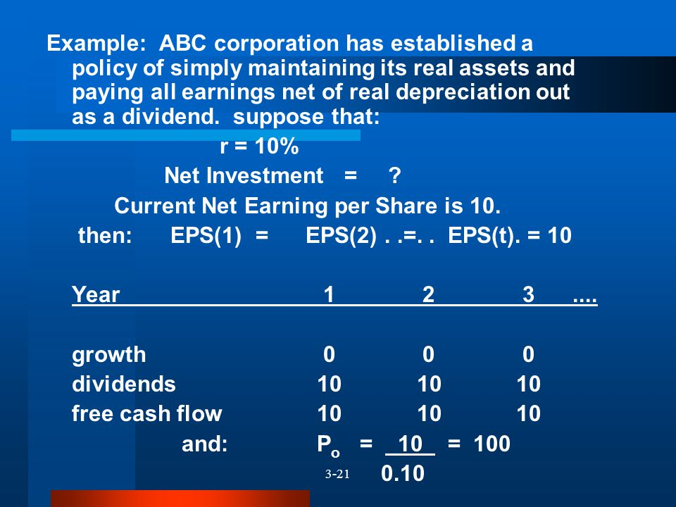 3-21 Example: ABC corporation has established a policy of simply maintaining its real assets and paying all earnings net of real depreciation out as a