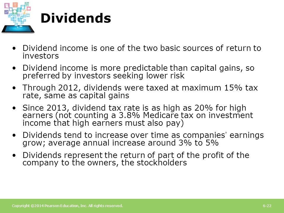 Copyright ©2014 Pearson Education, Inc. All rights reserved.6-22 Dividends Dividend income is one of the two basic sources of return to investors Divi