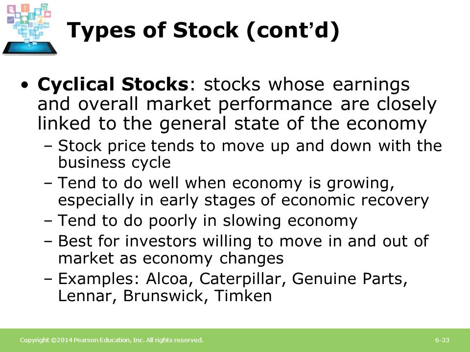 Copyright ©2014 Pearson Education, Inc. All rights reserved.6-33 Types of Stock (cont'd) Cyclical Stocks: stocks whose earnings and overall market per