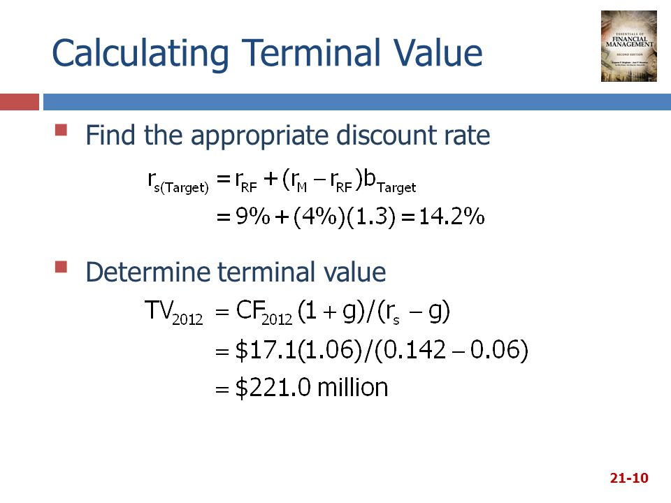 Calculating Terminal Value  Find the appropriate discount rate 21-10  Determine terminal value