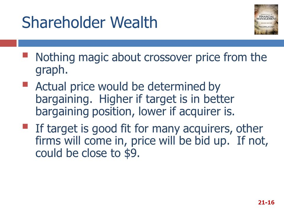 Shareholder Wealth  Nothing magic about crossover price from the graph.  Actual price would be determined by bargaining. Higher if target is in bett